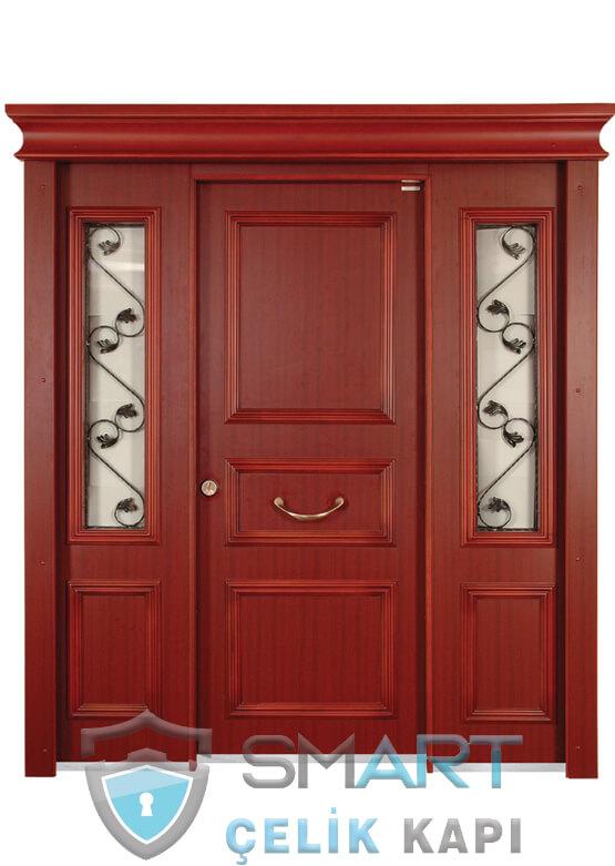 Ahşap Kaplama Villa Giriş Kapısı Ferforje Detaylı RedLine
