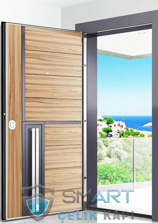 Hana Ahşap Kaplama Modern Çelik Kapı Modelleri
